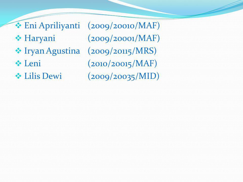  Eni Apriliyanti(2009/20010/MAF)  Haryani(2009/20001/MAF)  Iryan Agustina (2009/20115/MRS)  Leni(2010/20015/MAF)  Lilis Dewi(2009/20035/MID)