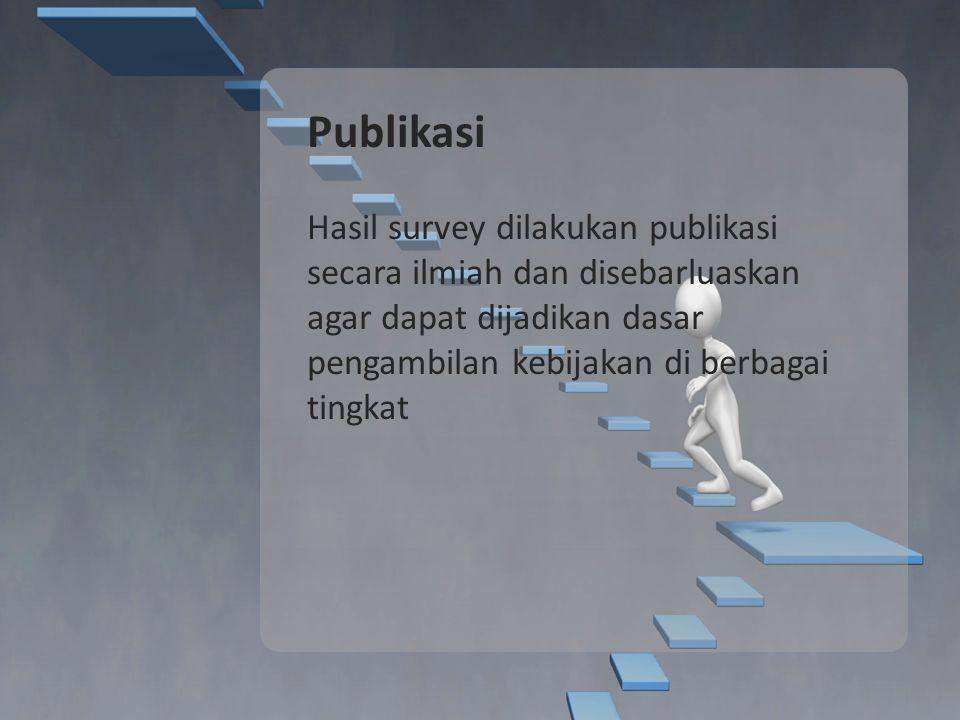 Publikasi Hasil survey dilakukan publikasi secara ilmiah dan disebarluaskan agar dapat dijadikan dasar pengambilan kebijakan di berbagai tingkat