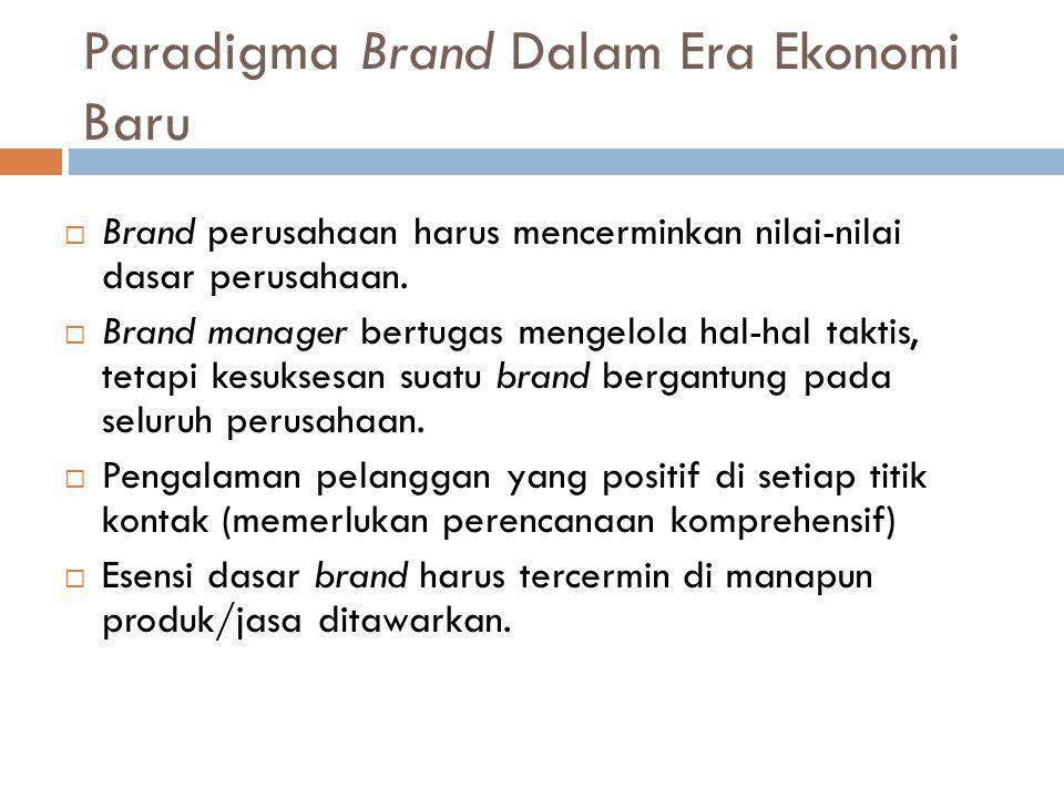Paradigma Brand Dalam Era Ekonomi Baru  Brand perusahaan harus mencerminkan nilai-nilai dasar perusahaan.  Brand manager bertugas mengelola hal-hal