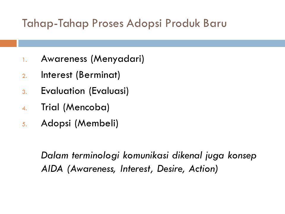 Tahap-Tahap Proses Adopsi Produk Baru 1. Awareness (Menyadari) 2. Interest (Berminat) 3. Evaluation (Evaluasi) 4. Trial (Mencoba) 5. Adopsi (Membeli)
