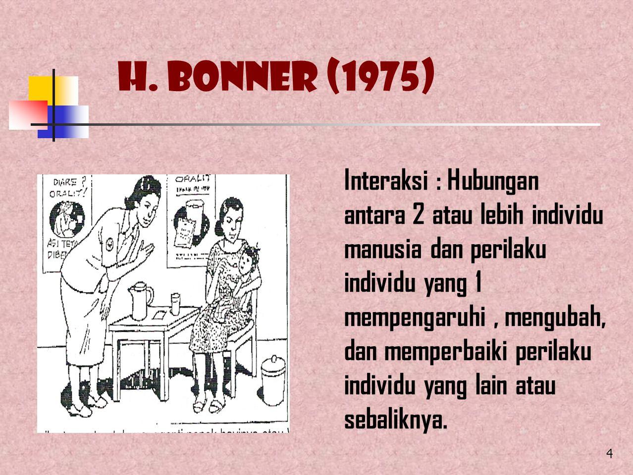 4 H. Bonner (1975) Interaksi : Hubungan antara 2 atau lebih individu manusia dan perilaku individu yang 1 mempengaruhi, mengubah, dan memperbaiki peri