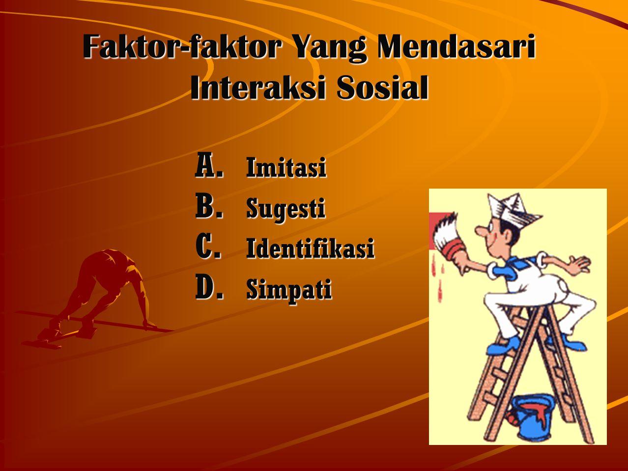6 Faktor-faktor Yang Mendasari Interaksi Sosial A. Imitasi B. Sugesti C. Identifikasi D. Simpati