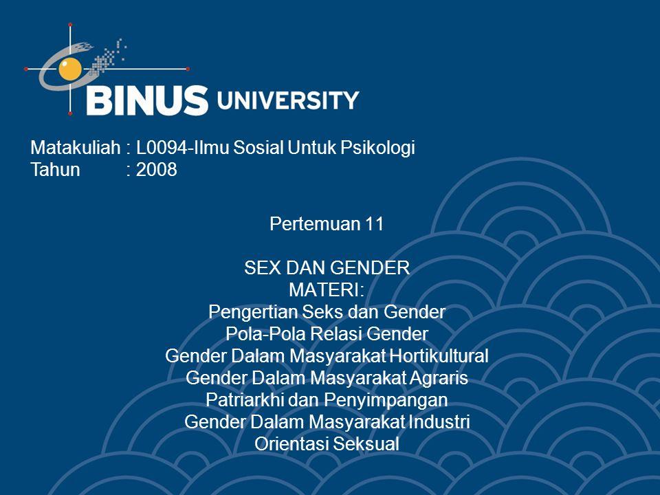 Pertemuan 11 SEX DAN GENDER MATERI: Pengertian Seks dan Gender Pola-Pola Relasi Gender Gender Dalam Masyarakat Hortikultural Gender Dalam Masyarakat A