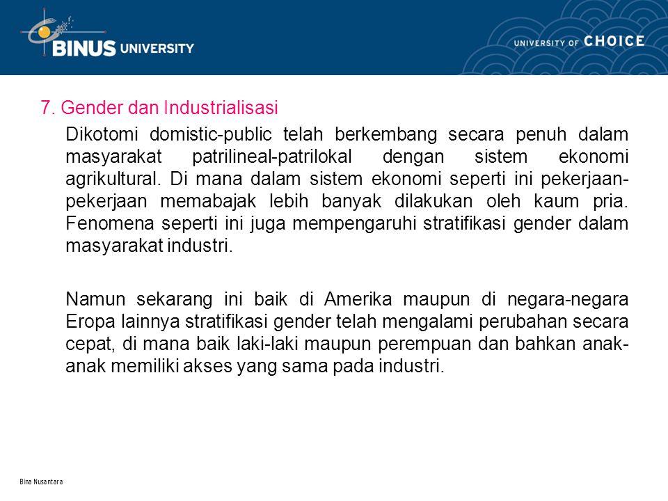 Bina Nusantara 7. Gender dan Industrialisasi Dikotomi domistic-public telah berkembang secara penuh dalam masyarakat patrilineal-patrilokal dengan sis