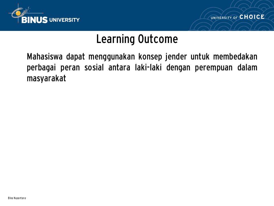 Bina Nusantara Learning Outcome Mahasiswa dapat menggunakan konsep jender untuk membedakan perbagai peran sosial antara laki-laki dengan perempuan dalam masyarakat