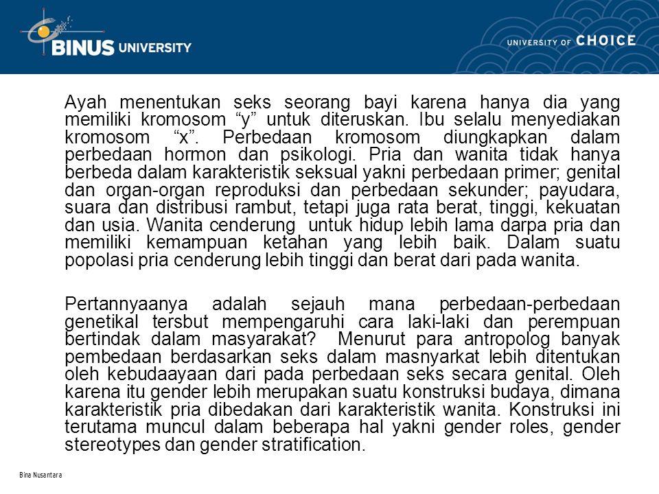 Bina Nusantara Gender roles mengacu pada perbedaan tugas dan aktivitas yang diebntuk oleh budaya berdasarkan perbedaan seks.