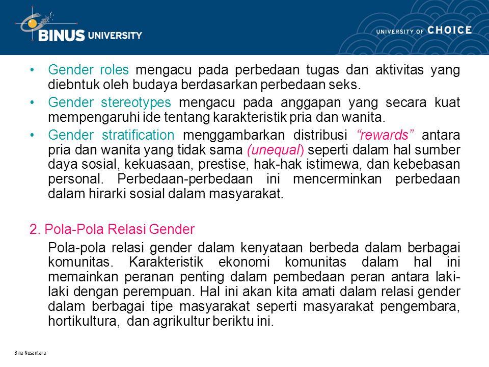 Bina Nusantara Gender roles mengacu pada perbedaan tugas dan aktivitas yang diebntuk oleh budaya berdasarkan perbedaan seks. Gender stereotypes mengac
