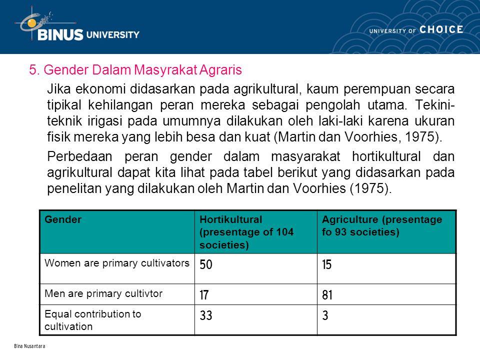 Bina Nusantara 5. Gender Dalam Masyrakat Agraris Jika ekonomi didasarkan pada agrikultural, kaum perempuan secara tipikal kehilangan peran mereka seba