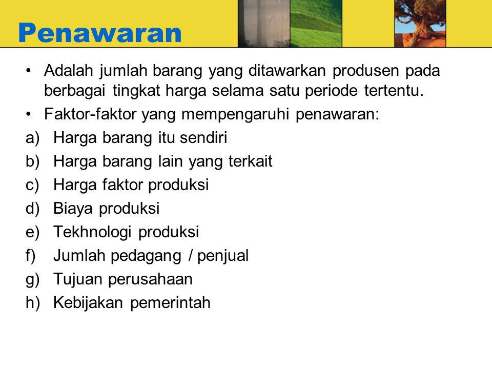 Penawaran Adalah jumlah barang yang ditawarkan produsen pada berbagai tingkat harga selama satu periode tertentu.