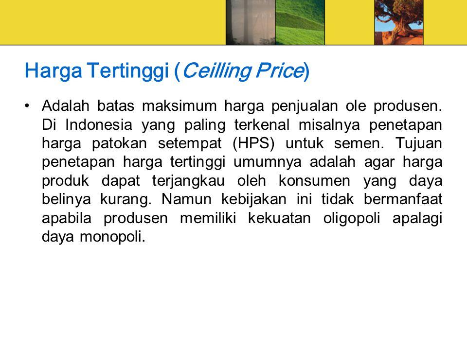 Harga Tertinggi (Ceilling Price) Adalah batas maksimum harga penjualan ole produsen.