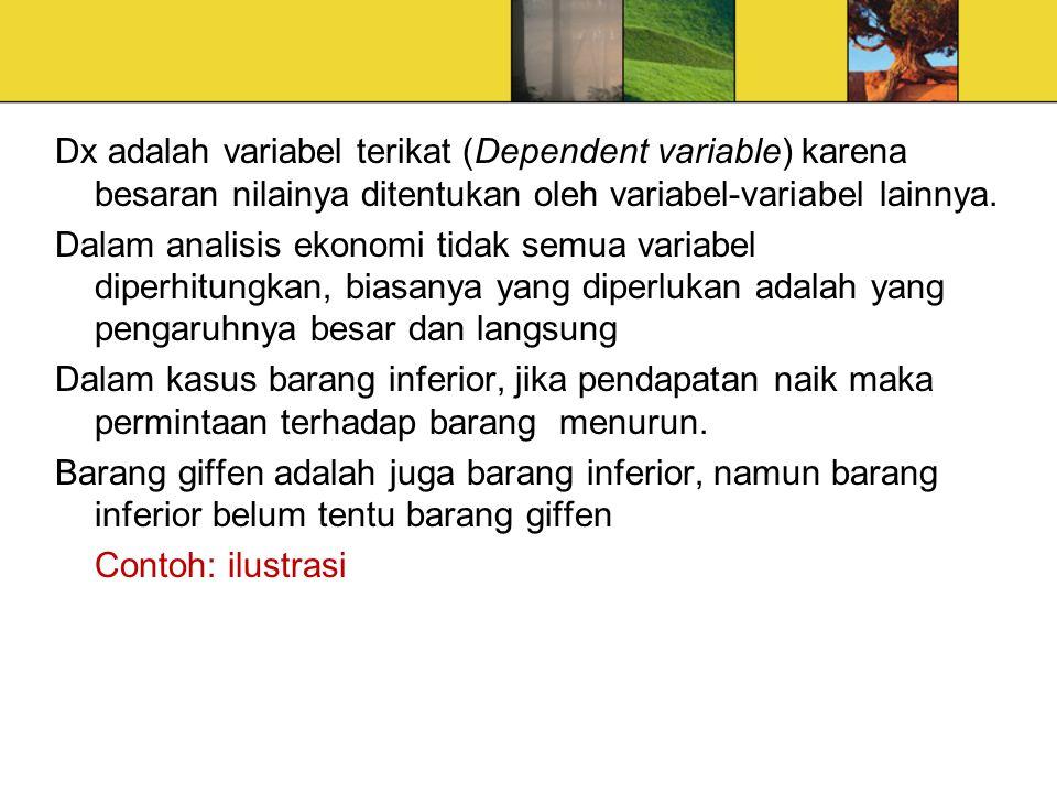 Dx adalah variabel terikat (Dependent variable) karena besaran nilainya ditentukan oleh variabel-variabel lainnya.