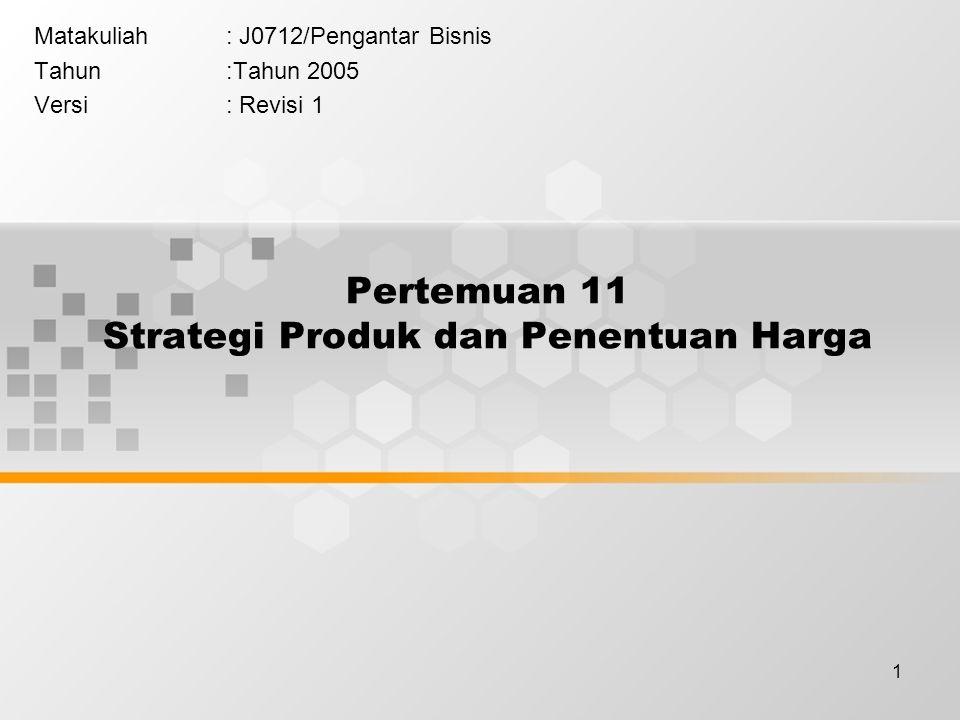 1 Pertemuan 11 Strategi Produk dan Penentuan Harga Matakuliah: J0712/Pengantar Bisnis Tahun:Tahun 2005 Versi: Revisi 1
