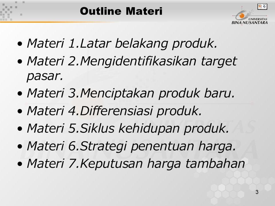 3 Outline Materi Materi 1.Latar belakang produk. Materi 2.Mengidentifikasikan target pasar. Materi 3.Menciptakan produk baru. Materi 4.Differensiasi p