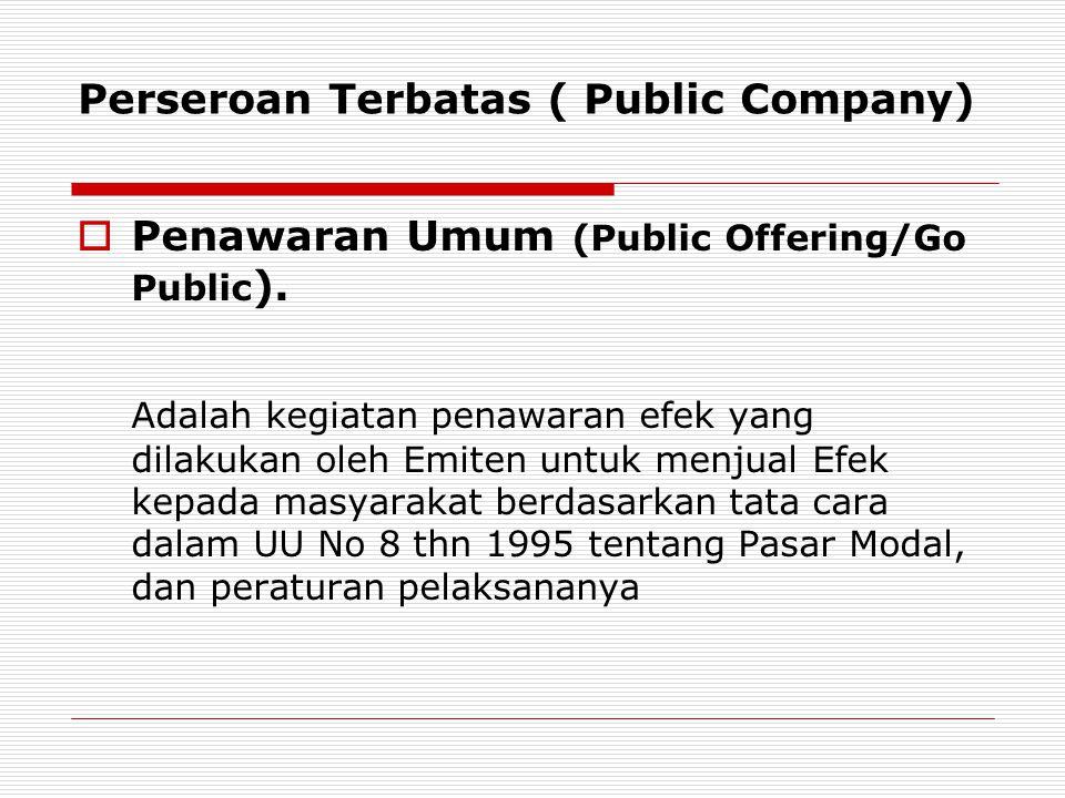 Perseroan Terbatas ( Public Company)  Penawaran Umum (Public Offering/Go Public ).