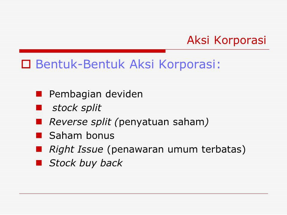 Aksi Korporasi  Bentuk-Bentuk Aksi Korporasi: Pembagian deviden stock split Reverse split (penyatuan saham) Saham bonus Right Issue (penawaran umum terbatas) Stock buy back