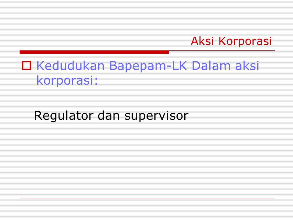 Aksi Korporasi  Kedudukan Bapepam-LK Dalam aksi korporasi: Regulator dan supervisor