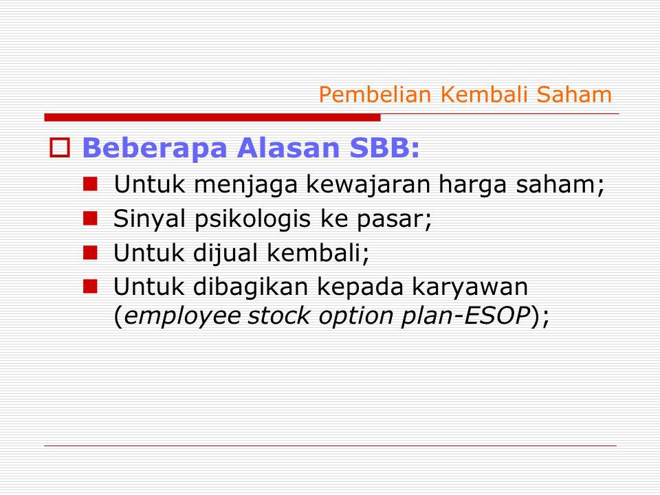 Pembelian Kembali Saham  Beberapa Alasan SBB: Untuk menjaga kewajaran harga saham; Sinyal psikologis ke pasar; Untuk dijual kembali; Untuk dibagikan kepada karyawan (employee stock option plan-ESOP);