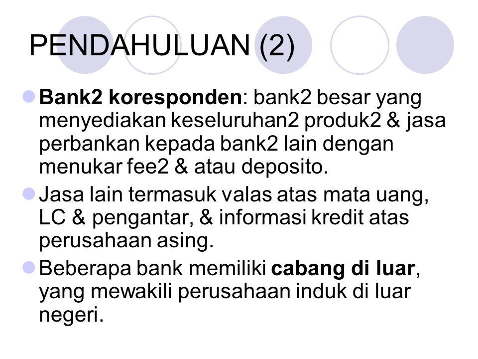 PENDAHULUAN (2) Bank2 koresponden: bank2 besar yang menyediakan keseluruhan2 produk2 & jasa perbankan kepada bank2 lain dengan menukar fee2 & atau deposito.