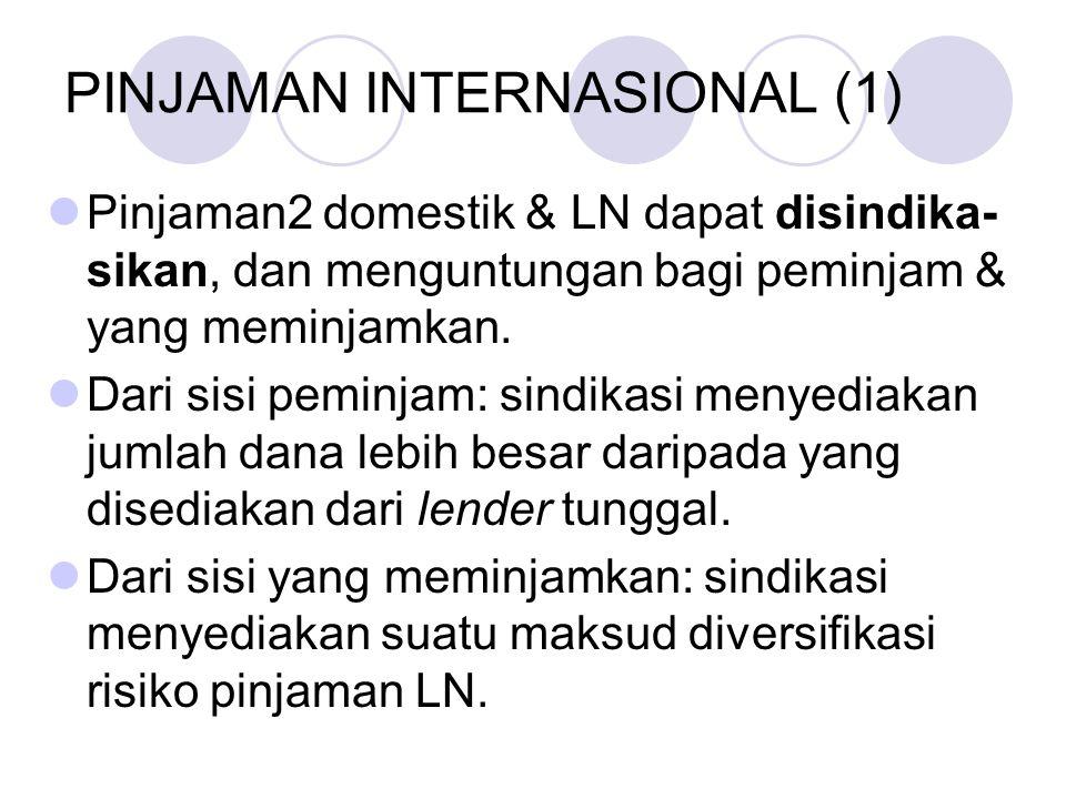 PINJAMAN INTERNASIONAL (2) Keunggulan lain sindikasi: menyediakan bank pengarah dengan pendapatan OBS untuk porsi pinjaman itu yang dijual kepada para partisipan lain.