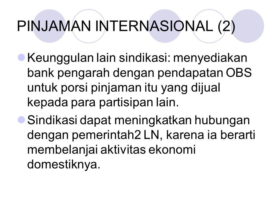 PINJAMAN INTERNASIONAL (2) Keunggulan lain sindikasi: menyediakan bank pengarah dengan pendapatan OBS untuk porsi pinjaman itu yang dijual kepada para
