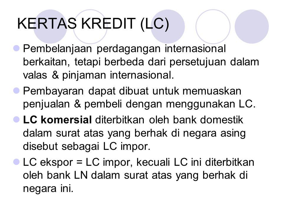 KERTAS KREDIT (LC) Pembelanjaan perdagangan internasional berkaitan, tetapi berbeda dari persetujuan dalam valas & pinjaman internasional. Pembayaran