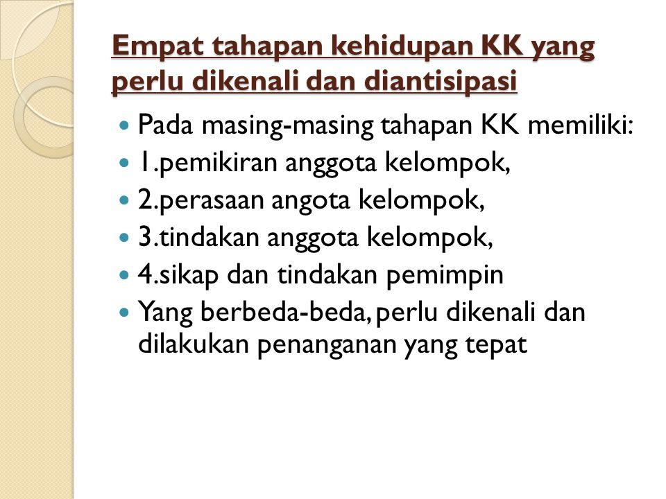 Empat tahapan kehidupan KK yang perlu dikenali dan diantisipasi Pada masing-masing tahapan KK memiliki: 1.pemikiran anggota kelompok, 2.perasaan angot
