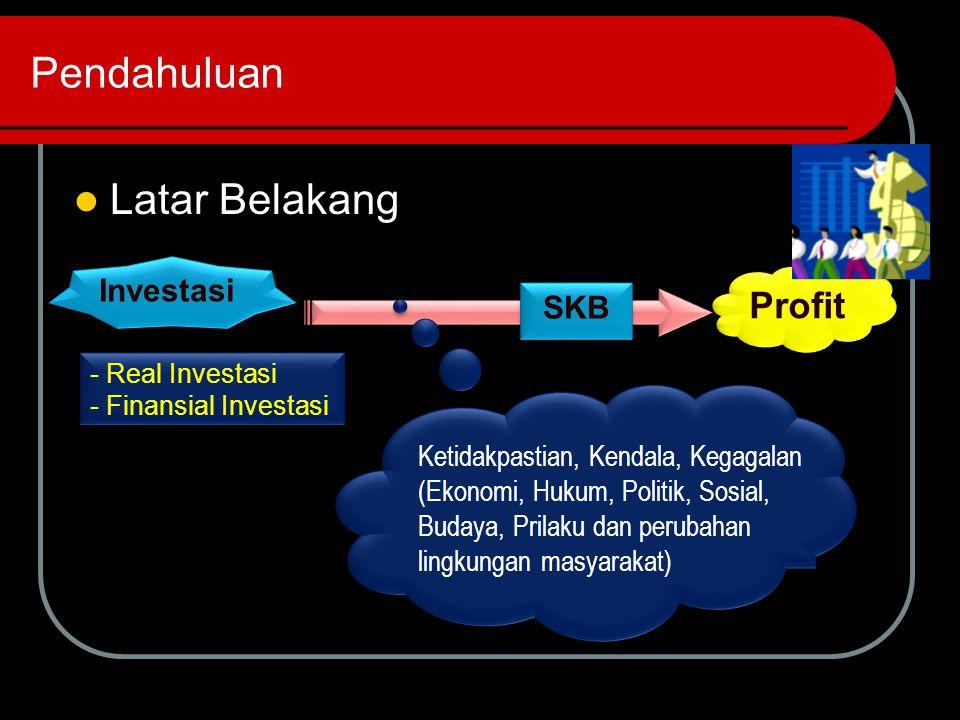 Pendahuluan Latar Belakang Investasi Profit - Real Investasi - Finansial Investasi - Real Investasi - Finansial Investasi Ketidakpastian, Kendala, Kegagalan (Ekonomi, Hukum, Politik, Sosial, Budaya, Prilaku dan perubahan lingkungan masyarakat) Ketidakpastian, Kendala, Kegagalan (Ekonomi, Hukum, Politik, Sosial, Budaya, Prilaku dan perubahan lingkungan masyarakat) SKB