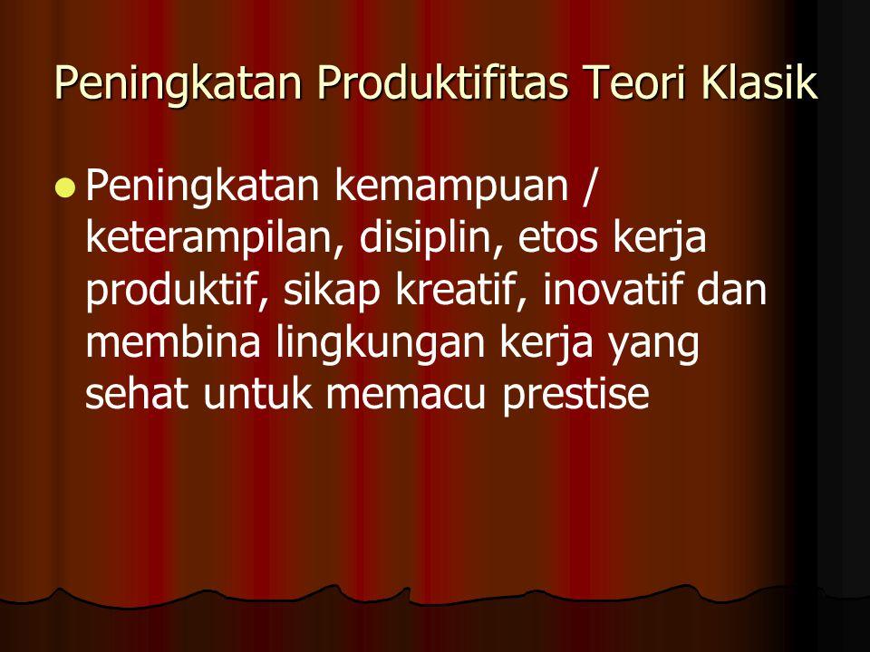 Peningkatan Produktifitas Teori Klasik Peningkatan kemampuan / keterampilan, disiplin, etos kerja produktif, sikap kreatif, inovatif dan membina lingkungan kerja yang sehat untuk memacu prestise