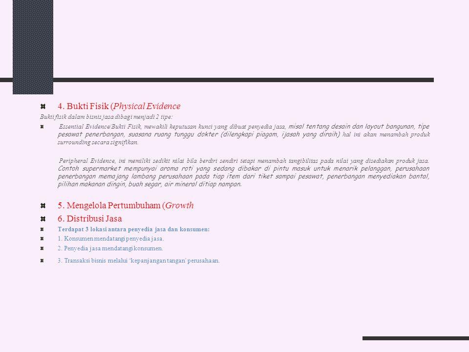 4. Bukti Fisik (Physical Evidence Bukti fisik dalam bisnis jasa dibagi menjadi 2 tipe: Essential Evidence/Bukti Fisik, mewakili keputusan kunci yang d