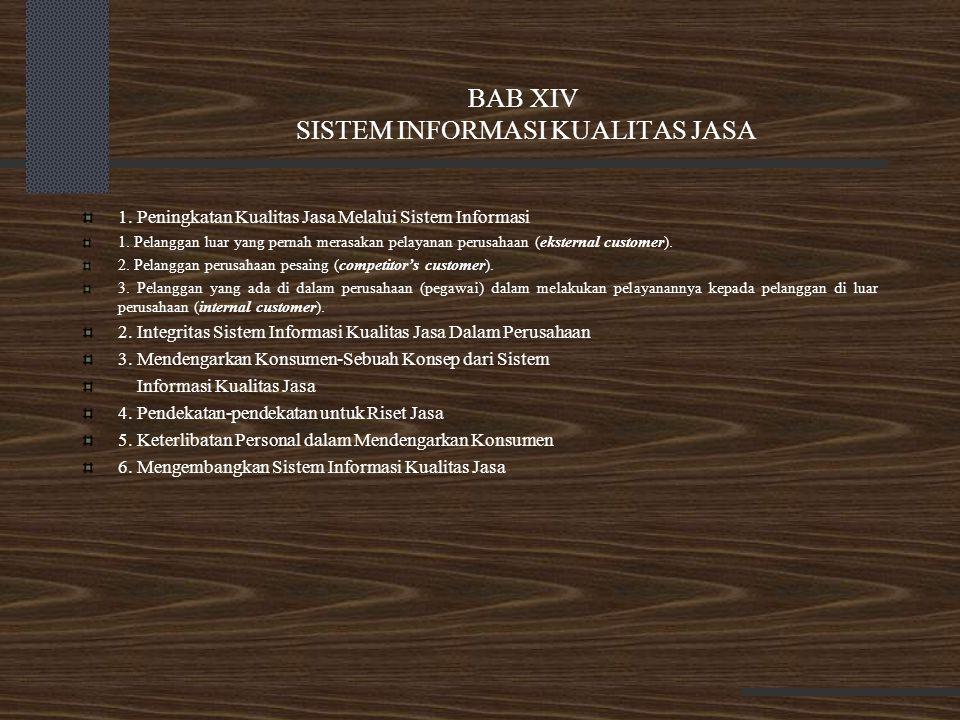BAB XIV SISTEM INFORMASI KUALITAS JASA 1. Peningkatan Kualitas Jasa Melalui Sistem Informasi 1. Pelanggan luar yang pernah merasakan pelayanan perusah
