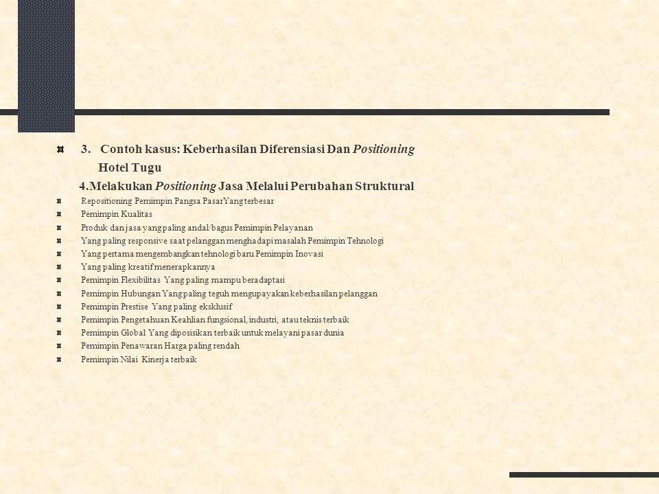 3. Contoh kasus: Keberhasilan Diferensiasi Dan Positioning Hotel Tugu 4.Melakukan Positioning Jasa Melalui Perubahan Struktural Repositioning Pemimpin