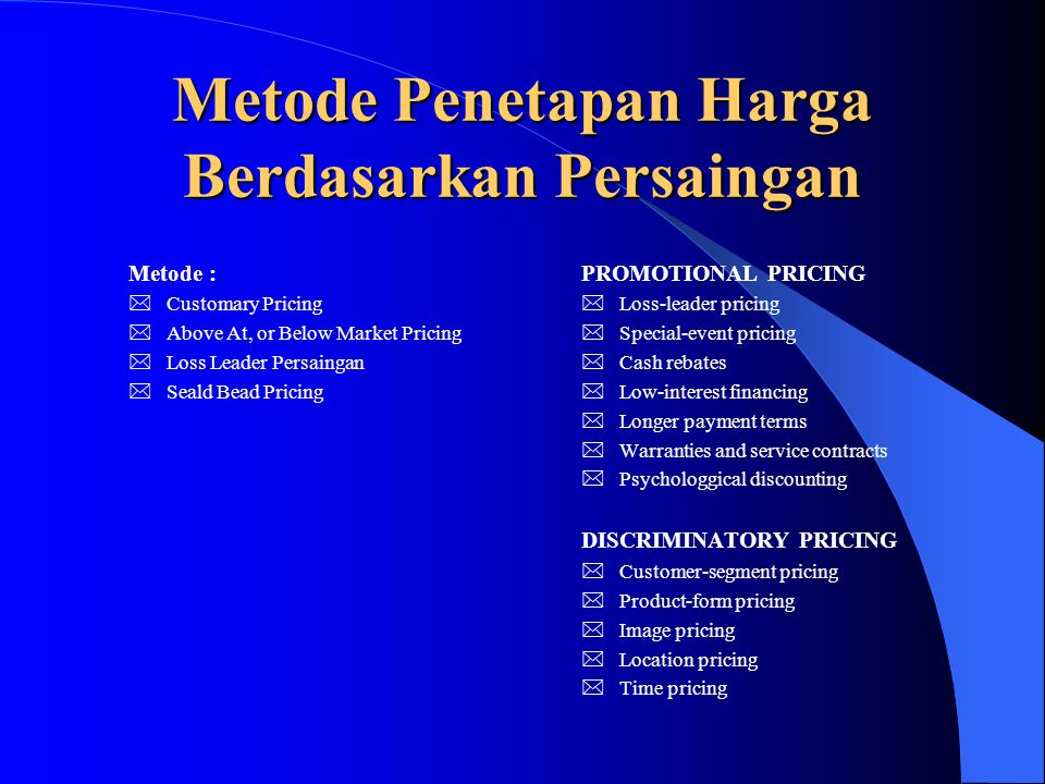 Metode Penetapan Harga Berdasarkan Persaingan Metode :  Customary Pricing  Above At, or Below Market Pricing  Loss Leader Persaingan  Seald Bead P