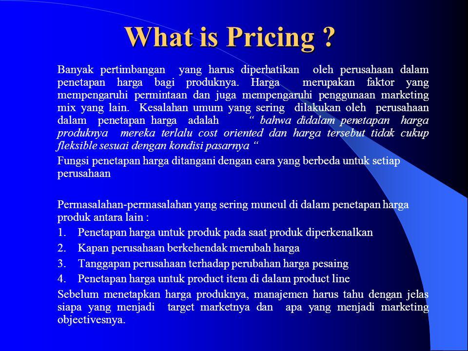 What is Pricing ? Banyak pertimbangan yang harus diperhatikan oleh perusahaan dalam penetapan harga bagi produknya. Harga merupakan faktor yang mempen