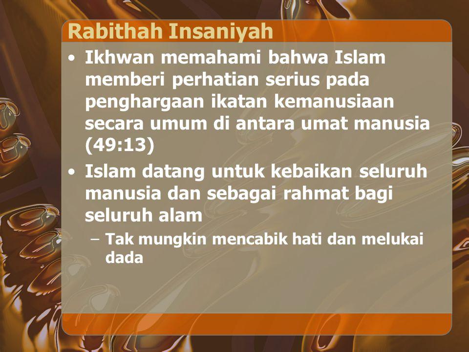 Rabithah Insaniyah Ikhwan memahami bahwa Islam memberi perhatian serius pada penghargaan ikatan kemanusiaan secara umum di antara umat manusia (49:13)