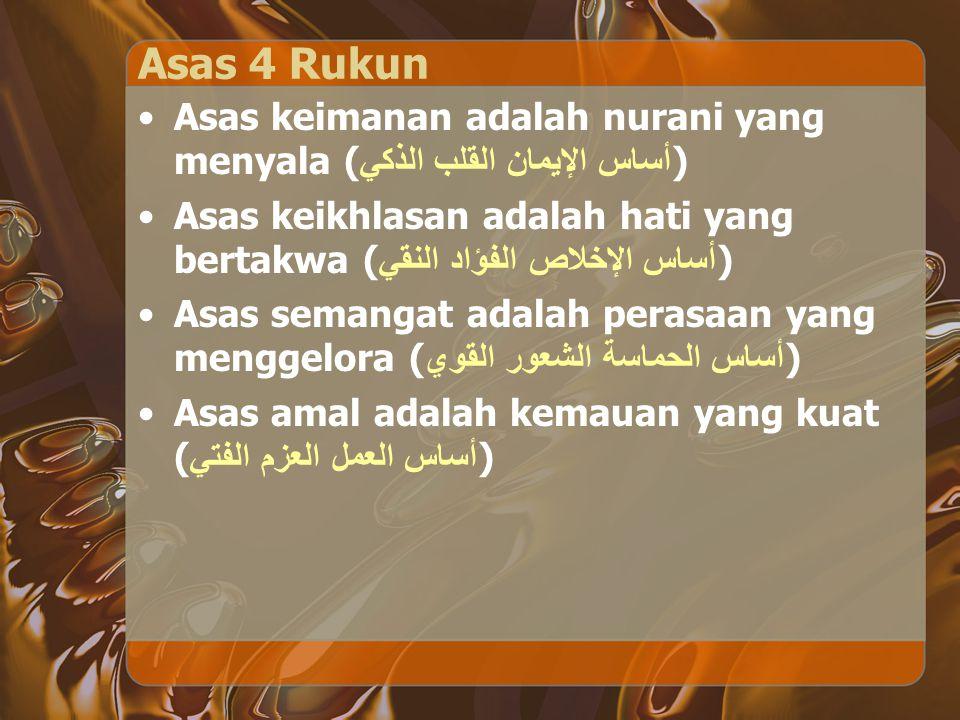 Asas 4 Rukun Asas keimanan adalah nurani yang menyala ( أساس الإيمان القلب الذكي ) Asas keikhlasan adalah hati yang bertakwa ( أساس الإخلاص الفؤاد الن