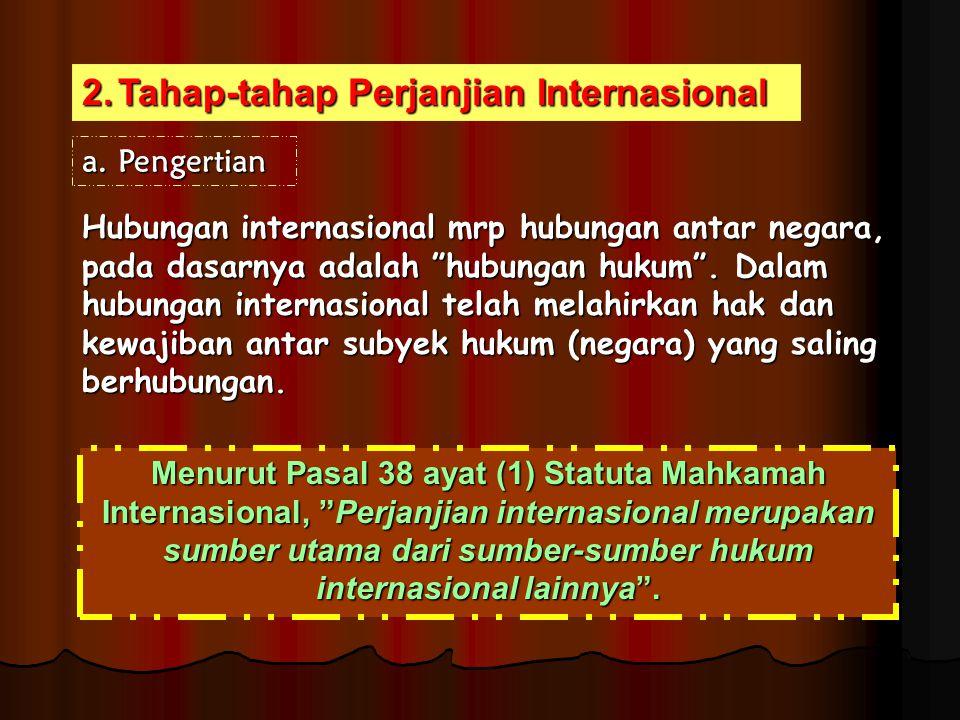 "2.Tahap-tahap Perjanjian Internasional Hubungan internasional mrp hubungan antar negara, pada dasarnya adalah ""hubungan hukum"". Dalam hubungan interna"