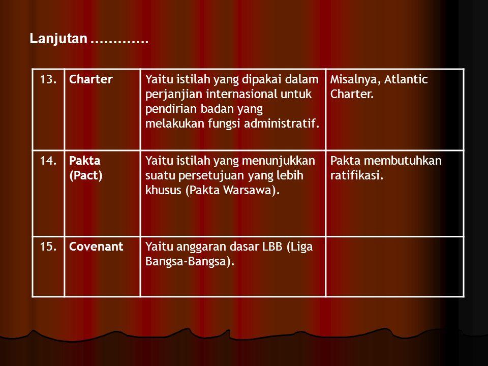 13.CharterYaitu istilah yang dipakai dalam perjanjian internasional untuk pendirian badan yang melakukan fungsi administratif. Misalnya, Atlantic Char