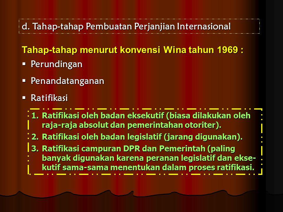 d.Tahap-tahap Pembuatan Perjanjian Internasional Tahap-tahap menurut konvensi Wina tahun 1969 :  Perundingan  Penandatanganan  Ratifikasi 1.Ratifik