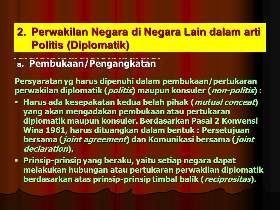 2.Perwakilan Negara di Negara Lain dalam arti Politis (Diplomatik) a. Pembukaan/Pengangkatan Persyaratan yg harus dipenuhi dalam pembukaan/pertukaran