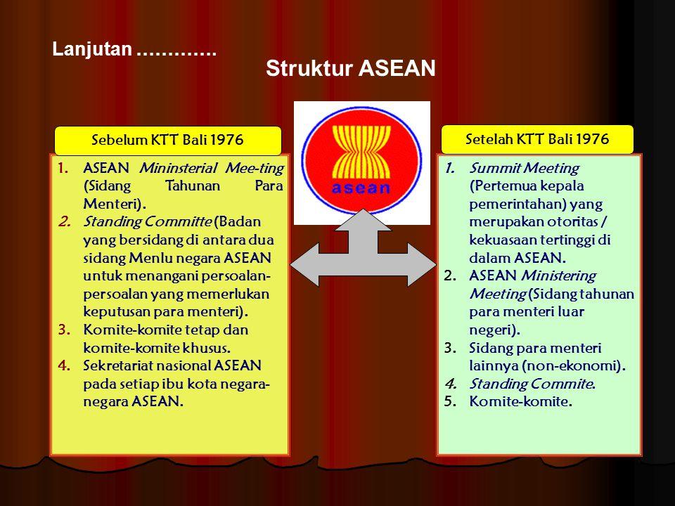 Lanjutan …………. Struktur ASEAN 1.ASEAN Mininsterial Mee-ting (Sidang Tahunan Para Menteri). 2.Standing Committe (Badan yang bersidang di antara dua sid