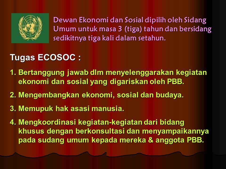 Tugas ECOSOC : 1.Bertanggung jawab dlm menyelenggarakan kegiatan ekonomi dan sosial yang digariskan oleh PBB. 2.Mengembangkan ekonomi, sosial dan buda