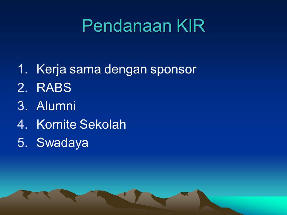 Kegiatan KIR 1.Kegiatan skala besar: a. Pertemuan Ilmiah b. Penataran dan Pelatihan c. Perkemahan dan Wisata Ilmiah 2.Kegiatan skala kecil: a. Aktivit