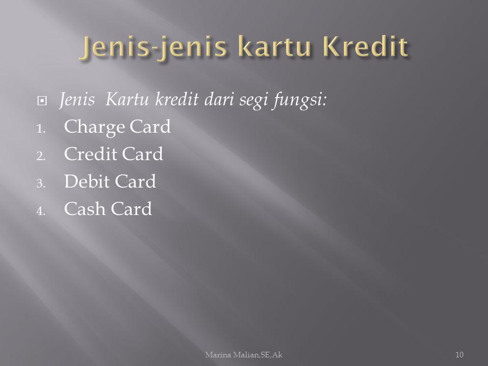  Jenis Kartu kredit dari segi fungsi: 1. Charge Card 2. Credit Card 3. Debit Card 4. Cash Card Marina Malian,SE,Ak10