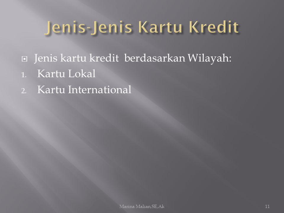  Jenis kartu kredit berdasarkan Wilayah: 1. Kartu Lokal 2. Kartu International Marina Malian,SE,Ak11