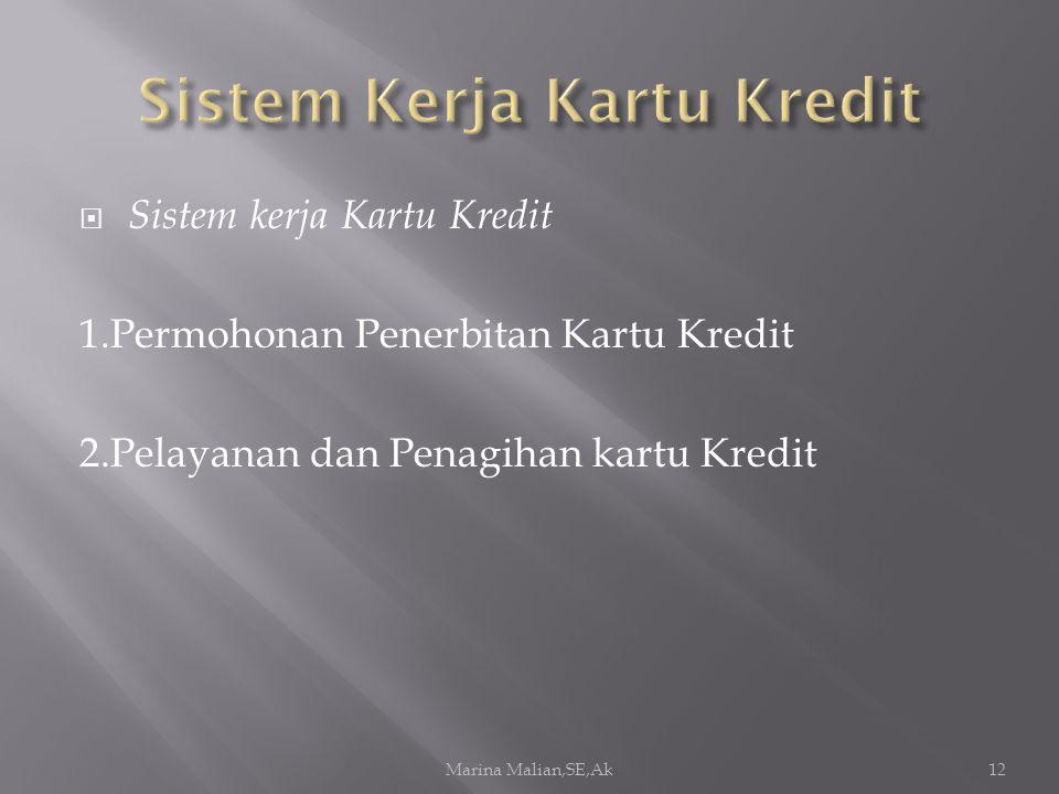  Sistem kerja Kartu Kredit 1.Permohonan Penerbitan Kartu Kredit 2.Pelayanan dan Penagihan kartu Kredit Marina Malian,SE,Ak12