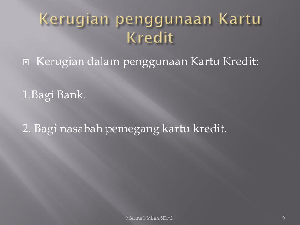  Kerugian dalam penggunaan Kartu Kredit: 1.Bagi Bank.