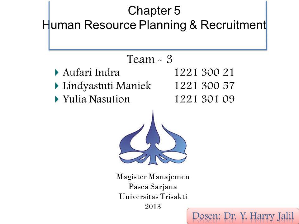 Team - 3 Chapter 5 Human Resource Planning & Recruitment Aufari Indra Lindyastuti Maniek Yulia Nasution 1221 300 21 1221 300 57 1221 301 09 Magister Manajemen Pasca Sarjana Universitas Trisakti 2013