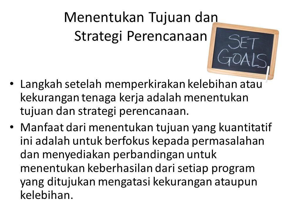 Menentukan Tujuan dan Strategi Perencanaan Langkah setelah memperkirakan kelebihan atau kekurangan tenaga kerja adalah menentukan tujuan dan strategi perencanaan.