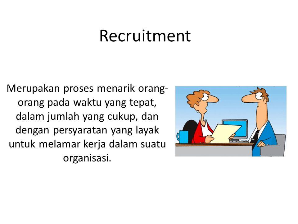 Recruitment Merupakan proses menarik orang- orang pada waktu yang tepat, dalam jumlah yang cukup, dan dengan persyaratan yang layak untuk melamar kerja dalam suatu organisasi.
