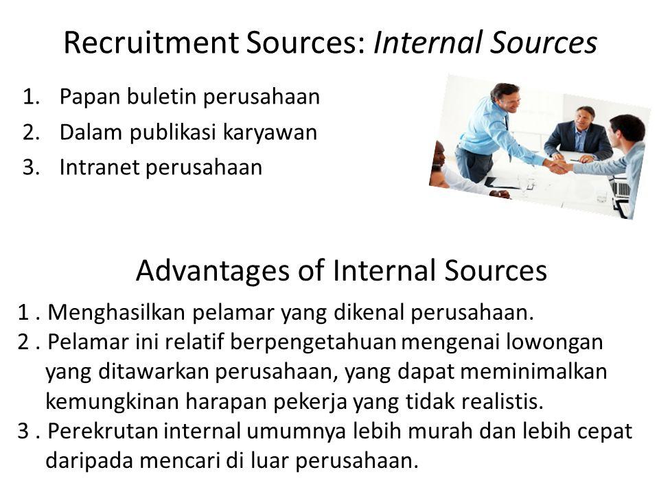 Recruitment Sources: Internal Sources 1.Papan buletin perusahaan 2.Dalam publikasi karyawan 3.Intranet perusahaan Advantages of Internal Sources 1.